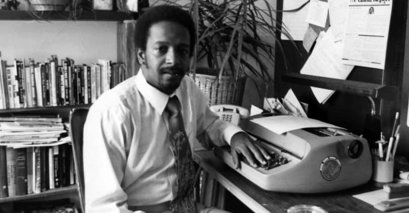 A younger Lucius Gantt used an IBM Selectric typewriter to launch The Gantt Report in 1980. (COURTESY OF ALL WORLD CONSULTANTS)